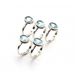WHOLESALE 5PC 925 SOLID STERLING SILVER NATURAL BLUE TOPAZ RING LOT