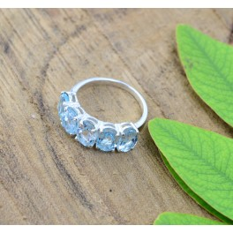 925 SOLID STERLING SILVER NATURAL BLUE TOPAZ RING