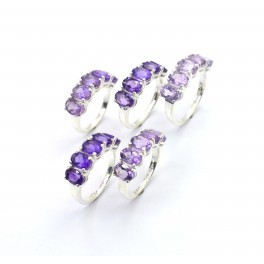 WHOLESALE 5PC 925 SOLID STERLING SILVER FACETED PURPLE AMETHYST RING LOT