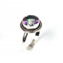 925 SOLID STERLING SILVER MYSTIC TOPAZ RING