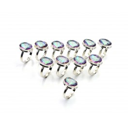 WHOLESALE 11PC 925 SOLID STERLING SILVER FACETED MYSTIC TOPAZ RING LOT