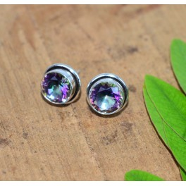 925 SOLID STERLING SILVER FACETED MYSTIC TOPAZ STUD EARRING