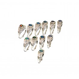 WHOLESALE 11PC 925 SOLIDSTERLING SILVER NATURAL BLACK ETHIOPIAN OPAL RING LOT
