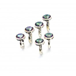 WHOLESALE 5PC 925 SOLID STERLING SILVER CUT MYSTIC TOPAZ RING LOT