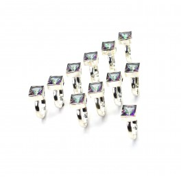 WHOLESALE 11PC 925 SOLID STERLING SILVER CUT MYSTIC TOPAZ RING LOT