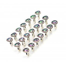 WHOLESALE 21PC 925 SOLID STERLING SILVER CUT MYSTIC TOPAZ RING LOT