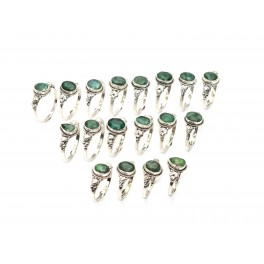 WHOLESALE 21PC 925 SOLID STERLING SILVER CUT GREEN EMERALD RING LOT