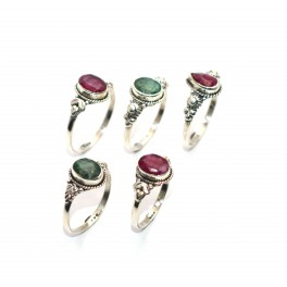 WHOLESALE 5PC 925 SOLID STERLING SILVER CUT RED RUBY GREEN EMERALD RING LOT