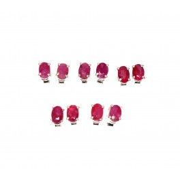WHOLESALE 5PR 925 SOLID STERLING SILVER CUT RED RUBY STUD EARRING LOT