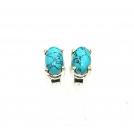 925 SOLID STERLING SILVER BLUE TURQUOISE STUD EARRING