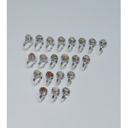 WHOLESALE 21PC 925 SOLID STERLING SILVER NATURAL ETHIOPIAN OPAL RING LOT