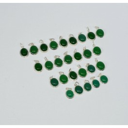 WHOLESALE 27PC 925 SOLID STERLING SILVER GREEN ONYX PENDANT LOT