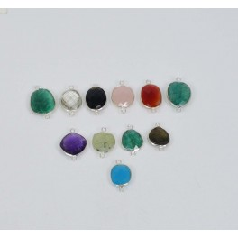 WHOLESALE 11 PC 925 SOLID STERLING SILVER GREEN EMERALD MIX CONNECTOR LOT