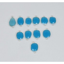 WHOLESALE 11 PC 925 SOLID STERLING SILVER CUT BLUE CHALCEDONY CONNECTOR LOT