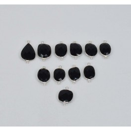 WHOLESALE 11 PC 925 SOLID STERLING SILVER FACETED BLACK ONYX CONNECTOR LOT
