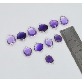 WHOLESALE 11 PC 925 SOLID STERLING SILVER CUT PURPLE AMETHYST CONNECTOR LOT