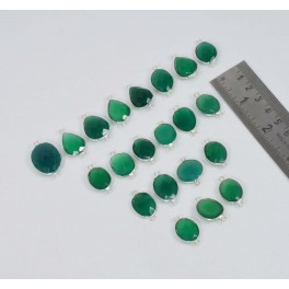 WHOLESALE 21 PC 925 SOLID STERLING SILVER FACETED GREEN ONYX CONNECTOR LOT