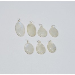 WHOLESALE 7PC 925 SOLID STERLING SILVER WHITE RAINBOW MOONSTONE PENDANT LOT