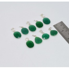 WHOLESALE 9PC 925 SOLID STERLING SILVER CUT GREEN EMERALD JADE PENDANT LOT