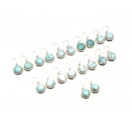 WHOLESALE 10PR 925 SOLID STERLING SILVER BLUE LARIMAR HOOK EARRING LOT