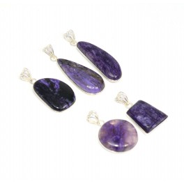 WHOLESALE 5PC 925 SOLID STERLING SILVER CHAROITE PENDANT LOT