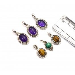 WHOLESALE 6PC 925 SOLID STERLING SILVER PURPLE AMETHYST MIX STONE PENDANT LOT