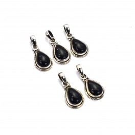 WHOLESALE 5PC 925 SOLID STERLING SILVER BLACK ONYX PENDANT LOT