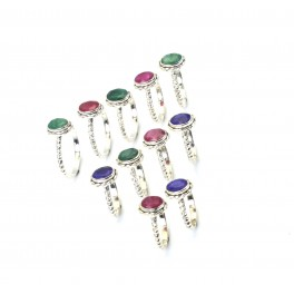WHOLESALE 11PC 925 SOLID STERLING SILVER CUT GREEN EMERALD MIX STONE RING LOT