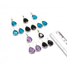 WHOLESALE 5PC 925 SOLID STERLING SILVER BLACK ONYX MIX EARRING CHAIN SET LOT