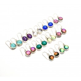 WHOLESALE 11PR 925 SOLID STERLING SILVER MIX DICHO GLASS HOOK EARRING LOT