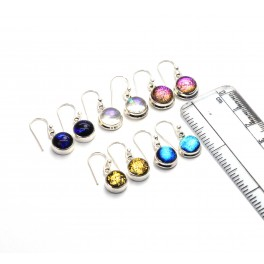 WHOLESALE 5PR 925 SOLID STERLING SILVER MIX DICHO GLASS HOOK EARRING LOT