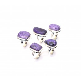 WHOLESALE 5PC 925 SOLID STERLING SILVER PURPLE CHAROITE RING LOT