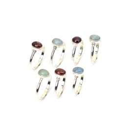 WHOLESALE 7PC 925 SOLID STERLING SILVER AQUAMARINE TOURMALINE RING LOT