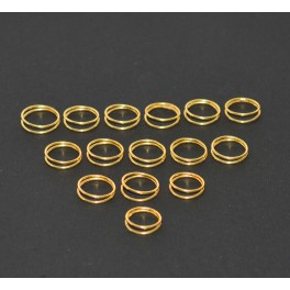 WHOLESALE 15PC 925 SOLID STERLING SILVER 24CT GOLD OVERLAY PLAIN RING LOT