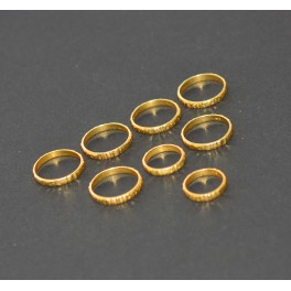 WHOLESALE 8PC 925 SOLID STERLING SILVER 24CT GOLD OVERLAY PLAIN RING LOT