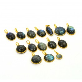 WHOLESALE 15PC 925 STERLING SILVER 24CT GOLD OVERLAY LABRADORITE PENDANT LOT