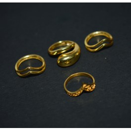 WHOLESALE 4PC 925 SOLID STERLING SILVER 24CT GOLD OVERLAY PLAIN RING LOT