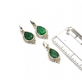 WHOLESALE 3PC 925 SOLID STERLING SILVER FACETED GREEN EMERALD PENDANT LOT