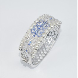 925 SOLID STERLING SILVER WATER OF PEARL CZ AND MIX STONE BANGLE