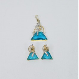 925 SOLID STERLING WITH 24CT GOLD OVERLAY BLUE QUARTZ CZ EARRING PENDANT SET