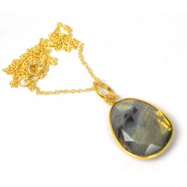 925 SOLID STERLING SILVER 24CT GOLD OVERLAY CUT LABRADORITE CHAIN PENDANT