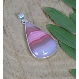 925 SOLID STERLING SILVER BOTSWANA AGATE PENDANT- 2.2 INCH