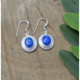 925 SOLID STERLING SILVER BLUE OPAL HOOK EARRING- 1.2 INCH