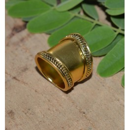 925 SOLID STERLING SILVER 24CT GOLD OVERLAY PLAIN RING- 6.5 US