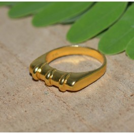 925 SOLID STERLING SILVER 24CT GOLD OVERLAY PLAIN RING-7.5 US