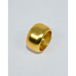 925 SOLID STERLING SILVER 24CT GOLD OVERLAY PLAIN RING - 7 US