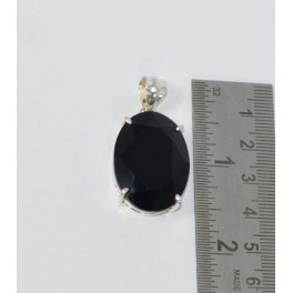 925 SOLID STERLING SILVER FACETED BLACK ONYX PENDANT-1.6 INCH
