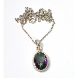 925 SOLID STERLING SILVER FACETED MYSTIC TOPAZ CHAIN PENDANT 19.1 INCH