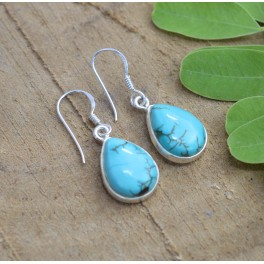 925 SOLID STERLING SILVER TURQUOISE HOOK EARRING 1.1 INCH