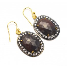 925 SOLID STERLING SILVER 24CT GOLD OVERLAY MULTI SAPPHIRE CZ HOOK EARRING